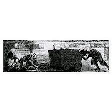 Artwork of boys hauling coal in a Bumper Sticker