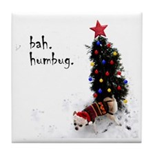 chihuahua, dog, christmas, bah humbug Tile Coaster