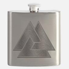 Valknut Triquetra Symbol - 1B - Flask