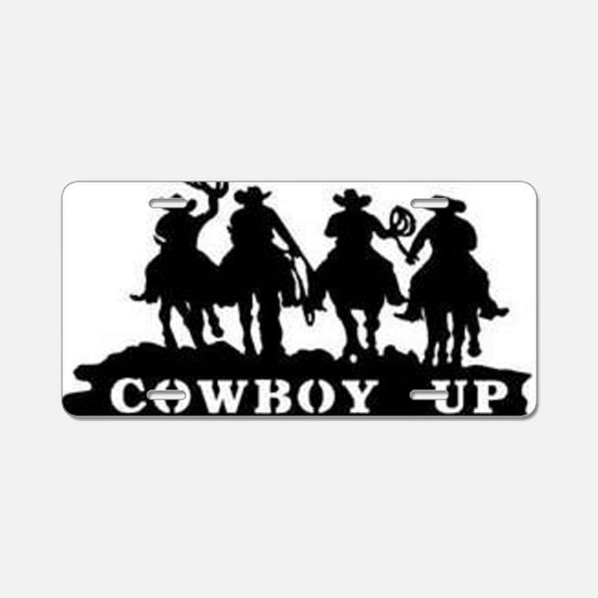 Cowboy Up Aluminum License Plate