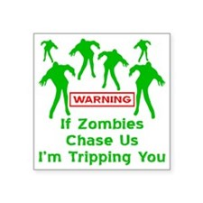 "blk_zombies_chase_us Square Sticker 3"" x 3"""