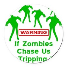 blk_zombies_chase_us Round Car Magnet