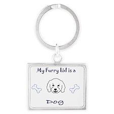 furry kid - more breeds Landscape Keychain