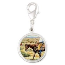 Cowboy Painting Silver Round Charm