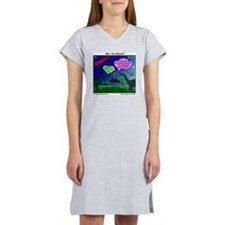 Dinosaurs and Asteroid Cartoon Women's Nightshirt