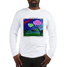 Dinosaurs and Asteroid Cartoon Long Sleeve T-Shirt