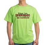 Women Love Snowmobilers Green T-Shirt