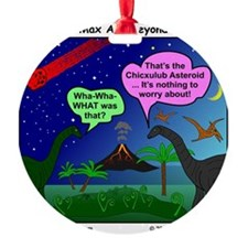 Dinosaurs and Asteroid Cartoon Ornament