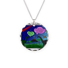 Dinosaurs and Asteroid Carto Necklace