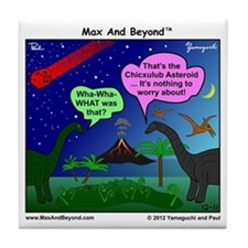 Dinosaurs and Asteroid Cartoon Tile Coaster