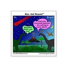 "Dinosaurs and Asteroid Cart Square Sticker 3"" x 3"""
