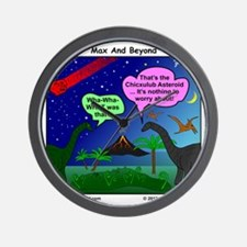 Dinosaurs and Asteroid Cartoon Wall Clock