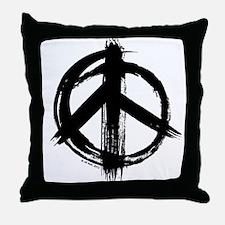 Peace sign - black Throw Pillow