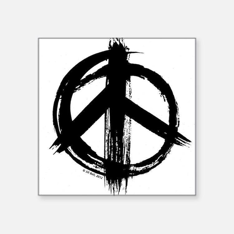 """Peace sign - black Square Sticker 3"""" x 3"""""""