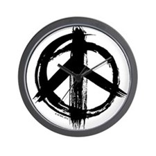Peace sign - black Wall Clock
