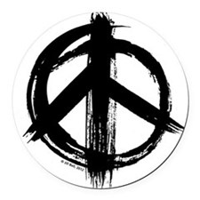 Peace sign - black Round Car Magnet