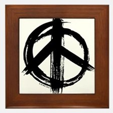 Peace sign - black Framed Tile