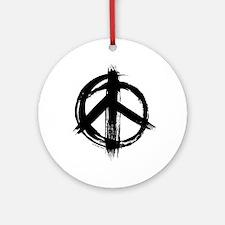 Peace sign - black Round Ornament