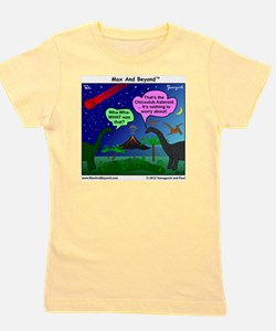 Dinosaurs and Asteroid Cartoon Girl's Tee