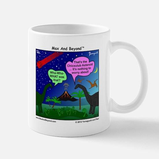 Dinosaurs and Asteroid Cartoon Mug