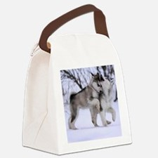Wolves Playing Canvas Lunch Bag