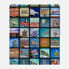 Mid-Century Vintage Signs Poster Throw Blanket