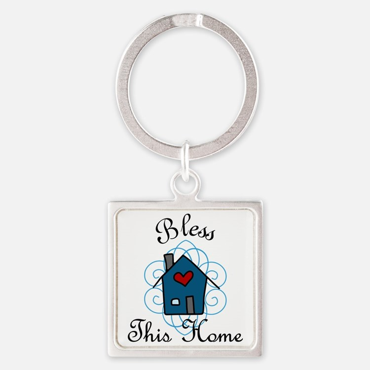 Bless This Home Square Keychain