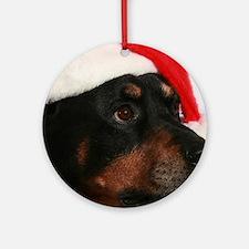 Rottweiler Santa Round Ornament