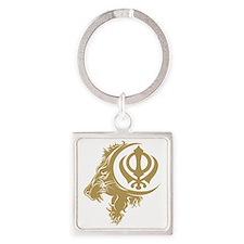 Singh Sikh Symbol 1 Square Keychain