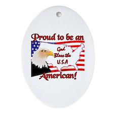God Bless the USA  Oval Ornament