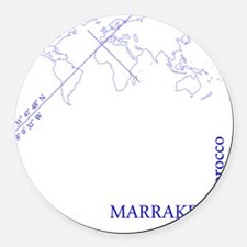 Marrakech geocode map (Blue) Round Car Magnet