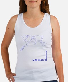 Marrakech geocode map (Blue) Women's Tank Top