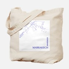 Marrakech geocode map (Blue) Tote Bag