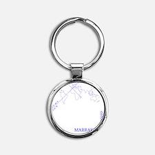Marrakech geocode map (Blue) Round Keychain