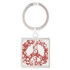 Peace_red Square Keychain