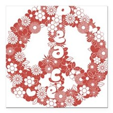 """Peace_red Square Car Magnet 3"""" x 3"""""""