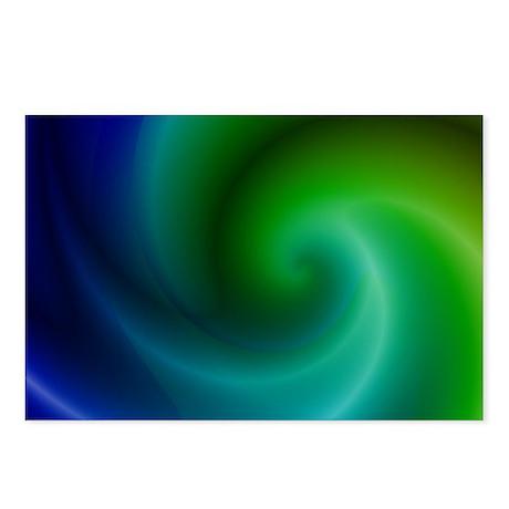 Blue Green Spiral Fractal Postcards (Package of 8)