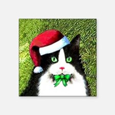 "Black and White Tuxedo Cat Square Sticker 3"" x 3"""
