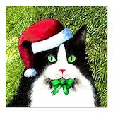 Christmas tuxedo cat Square Car Magnets
