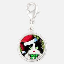 Black and White Tuxedo Cat Silver Round Charm