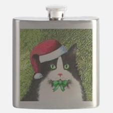 Black and White Tuxedo Cat Flask