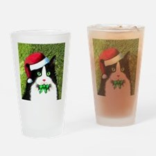 Black and White Tuxedo Cat Drinking Glass