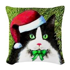 Black and White Tuxedo Cat Woven Throw Pillow