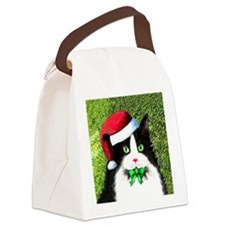 Black and White Tuxedo Cat Canvas Lunch Bag