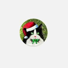 Black and White Tuxedo Cat Mini Button