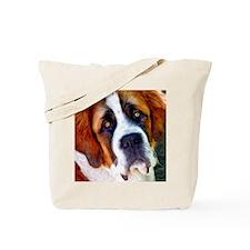 St Bernard Dog Photo Painting Tote Bag