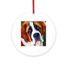 St Bernard Dog Photo Painting Round Ornament
