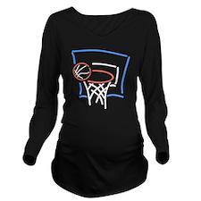 Neon Basketball Long Sleeve Maternity T-Shirt