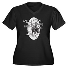 Glacier Bay  Women's Plus Size Dark V-Neck T-Shirt