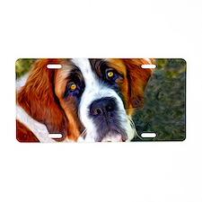 St Bernard Dog Photo Painti Aluminum License Plate